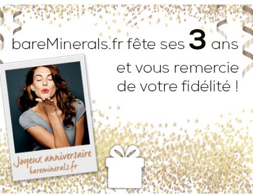 Bon Plan : Bare  Minerals fête ses 3 ans, 1 box offerte !